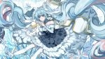 blue_dress blue_eyes blue_hair collar dress floating_hair frilled_dress frills hatsune_miku high_heels highres over-kneehighs rabbit star thigh-highs twintails vocaloid wallpaper wu_se_bu_hui_(940164887) yuki_miku