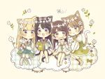 4girls :3 :d :o animal animal_ear_fluff animal_ears bangs barefoot blonde_hair blue_flower blush book bow braid brown_eyes brown_hair brown_legwear brown_sailor_collar bug butterfly cat_ears cat_girl cat_tail chibi closed_mouth commentary_request doughnut dress eating eyebrows_visible_through_hair flower flower_wreath food green_bow green_dress hair_between_eyes hair_bow head_tilt head_wreath holding holding_book holding_flower holding_food insect kneehighs light_brown_hair long_hair long_sleeves multiple_girls no_shoes open_book open_mouth original parted_lips sailor_collar sailor_dress sakura_oriko short_sleeves sitting smile star tail very_long_hair white_dress white_flower white_legwear