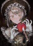 1girl apple bob_cut bonnet food fruit gloves gothic_lolita green_eyes grey_hair highres jewelry knife lolita_fashion original portrait ring tareme traditional_media ueno_zousui