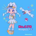 1girl anchor aqua_background arm_behind_back artist_name ascot bangs belt blush character_name creatures_(company) english finger_to_cheek full_body game_freak gen_3_pokemon hat highres long_hair mameeekueya moemon nintendo open_mouth personification poke_ball pokemon pokemon_(creature) pokemon_number sailor_collar seagull shoes simple_background standing twintails twitter_username white_belt white_hair white_hat wings wingull yellow_footwear yellow_neckwear