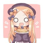 1girl :d abigail_williams_(fate/grand_order) bangs black_bow black_dress black_hat blonde_hair blue_eyes blush bow brown_background commentary_request dress eyebrows_visible_through_hair fate/grand_order fate_(series) food forehead hair_bow hands_up hat hikkii holding holding_plate long_hair long_sleeves looking_at_viewer o_o open_mouth orange_bow pancake parted_bangs plate polka_dot polka_dot_bow sleeves_past_fingers sleeves_past_wrists smile solo stack_of_pancakes two-tone_background upper_body very_long_hair white_background