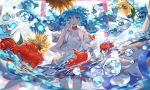 absurdres blue_hair bottle_miku dress floating_hair flower hatsune_miku highres koi open_mouth torii violet_eyes vocaloid wallpaper water_drop white_dress wu_se_bu_hui_(940164887)