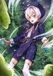 1boy blue_eyes blue_shorts hat kneehighs magic magical_boy male_focus original shorts slime solo tree white_hair white_legwear wind