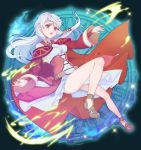1girl bare_shoulders black_gloves bracelet cape dress fingerless_gloves fire_emblem fire_emblem:_akatsuki_no_megami gloves hair_ribbon half_updo jewelry kokouno_oyazi long_hair micaiah nintendo open_mouth ribbon scarf side_slit silver_hair sleeveless sleeveless_dress solo yellow_eyes