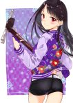 1girl ass bangs belt black_hair black_shorts blush braid character_request closed_mouth cowboy_shot eyebrows_visible_through_hair floral_print holding holding_instrument instrument jacket long_hair looking_at_viewer looking_back miyabi_akino nadeshiko_doremisora print_jacket purple_jacket red_eyes shamisen short_shorts shorts smile solo studded_belt very_long_hair white_belt