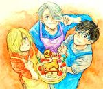 3boys anniversary apron black_eyes black_hair blonde_hair blue-framed_eyewear blue_eyes cake food from_above glasses green_eyes grin hair_over_one_eye ice_skates katsuki_yuuri male_focus multiple_boys one_eye_closed silver_hair skates smile takeshi_(mononohu20) v v_over_eye viktor_nikiforov yuri!!!_on_ice yuri_plisetsky