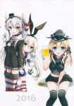 3girls :d absurdres alcohol amatsukaze_(kantai_collection) anchor_hair_ornament aqua_eyes badge bankoku_ayuya battery beer beer_mug black_choker black_panties black_ribbon blonde_hair blush button_badge cheerleader choker cup dress elbow_gloves garter_straps gloves hair_ornament hair_tubes hairband hat highleg highleg_panties highres holding holding_cup iron_cross kantai_collection long_hair low_twintails military_hat mini_hat multiple_girls open_mouth panties peaked_cap pleated_skirt prinz_eugen_(kantai_collection) red_legwear rensouhou-chan rensouhou-kun ribbon sailor_collar sailor_dress shimakaze_(kantai_collection) short_dress silver_hair single_glove skirt smile striped striped_legwear teruterubouzu thigh-highs twintails two_side_up underwear white_gloves windsock yellow_eyes