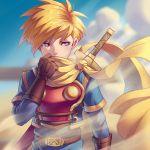 1boy armor blonde_hair blue_eyes cape gloves golden_sun kaijuicery male_focus nintendo robin_(golden_sun) scarf short_hair solo spiky_hair super_smash_bros. super_smash_bros._ultimate