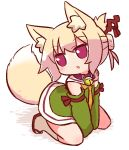 1girl animal_ear_fluff animal_ears bangs bell bell_collar between_legs blonde_hair blush brown_collar collar detached_sleeves eyebrows_visible_through_hair fox_ears fox_girl fox_tail green_skirt green_sleeves hair_between_eyes hair_bun hair_ornament hand_between_legs head_tilt jingle_bell kemomimi-chan_(naga_u) kneehighs kneeling long_sleeves looking_away looking_to_the_side naga_u orange_neckwear original red_eyes red_footwear shirt sidelocks skirt sleeveless sleeveless_shirt solo tail white_legwear zouri