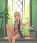 1girl arm_up bangs bare_legs barefoot blonde_hair blue_bra blue_eyes blunt_bangs bow bra dress flower flower_pot hand_on_own_knee hand_on_wall leg_up long_hair long_sleeves looking_at_viewer original parted_lips peroncho plant potted_plant red_bow red_ribbon ribbon rose sitting solo underwear white_dress wide_sleeves window
