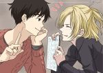 2boys black_hair blonde_hair brown_eyes chin_rest closed_eyes half_updo index_finger_raised jewelry jun89 katsuki_yuuri male_focus multiple_boys paper ring smile sweater yuri!!!_on_ice yuri_plisetsky