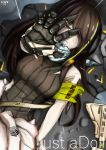 1girl absurdres arm_up armband assault_rifle bangs black_hair breasts brown_eyes brown_hair clothes_around_waist damaged eyebrows_visible_through_hair girls_frontline gloves gun hair_between_eyes headphones highres jacket jacket_around_waist long_hair looking_at_hand looking_at_viewer lying m4_carbine m4a1_(girls_frontline) multicolored_hair nez-3 on_back parted_lips rain rifle scarf sidelocks streaked_hair torn_clothes weapon