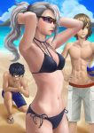 1girl 2boys akechi_gorou amamiya_ren ball beach bikini black_bikini black_hair breasts brown_hair cleavage glasses long_hair multiple_boys navel niijima_sae otk_king persona persona_5 ponytail short_hair simple_background sky swimsuit water