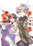 >:) 1boy 1girl :o bangs blunt_bangs brown_eyes brown_hair candy_apple clenched_hand double_bun dress food hand_holding highres long_hair long_sleeves looking_at_viewer official_art okashina_tensei puffy_sleeves purple_dress shuri_yasuyuki silver_hair smile standing white_background