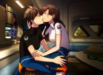2girls black_shirt blue_pants blush brown_hair casual closed_eyes couch d.va_(overwatch) facial_mark facing_another from_side hooreng kiss long_hair multiple_girls overwatch overwatch_(logo) pants shadow shirt short_hair sitting sitting_on_lap sitting_on_person smile table tracer_(overwatch) white_shirt yuri