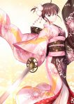1girl ahoge back_bow bangs bow brown_bow brown_eyes brown_hair brown_kimono closed_mouth commentary_request eyebrows_visible_through_hair floral_print gogatsu_fukuin hair_between_eyes hair_ornament highres holding holding_sword holding_weapon japanese_clothes kara_no_kyoukai katana kimono long_sleeves looking_at_viewer multicolored multicolored_clothes multicolored_kimono obi outstretched_arm pink_kimono print_kimono ryougi_shiki sash solo standing sword v-shaped_eyebrows weapon wide_sleeves
