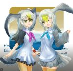 2girls bird_tail bird_wings black-tailed_gull_(kemono_friends) blonde_hair bracelet commentary_request common_gull_(kemono_friends) cowboy_shot dress eyebrows_visible_through_hair frilled_dress frilled_sleeves frills grey_hair head_wings jewelry kemono_friends long_hair long_sleeves multicolored_hair multiple_girls neckerchief one_eye_closed pantyhose pleated_skirt sailor_collar sailor_dress short_sleeves skirt tamamushi thigh-highs white_hair wings yellow_eyes yellow_legwear