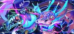 1girl akali aqua artist_name baseball_cap bodypaint breasts cleavage cropped_jacket dragon dutch_angle eastern_dragon face_mask fox_shadow_puppet hat highres idol jacket k/da_(league_of_legends) k/da_akali krokobyaka large_breasts league_of_legends looking_at_viewer makeup mask midriff navel open_clothes open_jacket ponytail purple_hair solo spray_can ultraviolet_light yellow_eyes