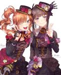 2girls ;d bang_dream! bangs belt black_dress black_gloves black_hair black_hat black_ribbon braid brown_eyes brown_hair center_frills character_name cross-laced_clothes crown_braid dress earrings fingerless_gloves flower frills gloves half_gloves hand_on_another's_shoulder hat hat_flower hat_ribbon highres imai_lisa jewelry long_hair long_sleeves looking_at_viewer multiple_girls niro_(sikabanekurui) one_eye_closed open_mouth pink_flower pink_rose pocket_watch red_flower red_rose ribbon rose shirokane_rinko side_ponytail sidelocks smile striped striped_ribbon v violet_eyes watch