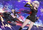 ahoge artoria_pendragon_(all) black_dress black_footwear black_ribbon black_shorts blonde_hair boots breasts coat commentary_request dress eyebrows_visible_through_hair fate/grand_order fate_(series) full-length_zipper fur-trimmed_coat fur_trim ground_vehicle high_heel_boots high_heels jeanne_d'arc_(alter)_(fate) jeanne_d'arc_(fate)_(all) knee_boots large_breasts motor_vehicle motorcycle ribbon saber_alter short_dress shorts silver_hair sword ten-chan_(eternal_s) weapon wicked_dragon_witch_ver._shinjuku_1999 yellow_eyes zipper