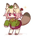 1girl alternate_animal_ears animal_ear_fluff animal_ears bangs blonde_hair blush chibi closed_mouth eyebrows_visible_through_hair full_body green_shirt hair_between_eyes hair_bun hair_ornament kemomimi-chan_(naga_u) leaf leaf_on_head long_sleeves looking_at_viewer naga_u orange_neckwear original pleated_skirt purple_skirt raccoon_ears raccoon_girl raccoon_tail red_eyes red_footwear ribbon-trimmed_legwear ribbon_trim sailor_collar shirt sidelocks skirt sleeves_past_fingers sleeves_past_wrists solo sparkle standing tail tail_raised thigh-highs white_background white_legwear white_sailor_collar zouri