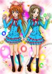 2girls :d blue_jacket blue_legwear blue_skirt bow bowtie brown_eyes brown_footwear brown_hair clenched_hand full_body hair_bobbles hair_ornament hair_ribbon hanzou houjou_hibiki jacket kneehighs layered_skirt loafers long_hair looking_at_viewer minamino_kanade miniskirt multiple_girls open_mouth orange_hair pink_ribbon ponytail precure red_bow ribbon school_uniform shirt shoes skirt smile standing suite_precure two_side_up very_long_hair white_shirt