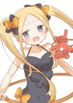 1girl :d abigail_williams_(fate/grand_order) alternate_costume alternate_hairstyle bangs bare_arms bare_shoulders black_bow black_leotard blue_eyes blush bow bug butterfly collarbone commentary_request covered_navel crossed_bandaids eyebrows_visible_through_hair fate/grand_order fate_(series) hair_bow head_tilt hikkii hoop insect leotard long_hair open_mouth orange_bow parted_bangs simple_background smile solo stuffed_animal stuffed_toy teddy_bear upper_body very_long_hair white_background
