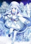 1girl ainu_clothes bangs blue_eyes blush cape fate/grand_order fate_(series) fushimi_(fukumi) grass hair_between_eyes hat ice long_hair looking_at_viewer mittens open_mouth outdoors silver_hair sitonai sky smile star_(sky) starry_sky very_long_hair white_legwear white_mittens wide_sleeves