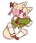 1girl animal_ear_fluff animal_ears arm_up bangs bare_shoulders between_legs blonde_hair blush chibi closed_mouth detached_sleeves eyebrows_visible_through_hair fox_ears fox_girl fox_tail full_body green_shirt hair_between_eyes hair_bun hair_ornament hand_up kemomimi-chan_(naga_u) kneehighs long_sleeves lying naga_u on_side orange_neckwear original red_eyes red_footwear ribbon-trimmed_sleeves ribbon_trim sailor_collar shadow shirt sidelocks sleeveless sleeveless_shirt sleeves_past_fingers sleeves_past_wrists solo tail tail_between_legs white_background white_legwear white_sailor_collar zouri