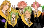 achilles_(fate) animal_ears astolfo_(fate) atalanta_(fate) brown_eyes brown_hair chiron_(fate) closed_eyes collared_shirt commentary covered_eyes eyebrows_visible_through_hair fangs fate/grand_order fate_(series) frankenstein's_monster_(fate) green_eyes green_hair hair_over_eyes harry_potter highres horn long_hair mandrake matimatio multicolored_hair necktie open_mouth orange_hair pink_hair robe shirt short_hair two-tone_hair v yellow_eyes