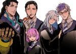 2girls 3boys black_hair blue_hair brynhildr_(fate) collared_shirt fate/grand_order fate_(series) gauntlets glasses gloves harry_potter headpiece helena_blavatsky_(fate/grand_order) matching_outfit matimatio multicolored_hair multiple_boys multiple_girls necktie nikola_tesla_(fate/grand_order) pink_eyes pink_hair pipe pipe_in_mouth purple_hair robe sherlock_holmes_(fate/grand_order) shirt sigurd_(fate/grand_order) two-tone_hair white_hair