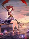 1girl adapted_costume afloat_lantern alternate_weapon ankle_cuffs anklet barefoot coin flower g.h_(gogetsu) hair_bobbles hair_ornament highres jewelry lantern obi onozuka_komachi red_eyes redhead sash scythe short_hair sitting skirt sleeveless smile soaking_feet solo touhou two_side_up water weapon
