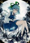 1girl absurdres bangs blue_dress blue_eyes blue_footwear blue_hair cirno commentary daimaou_ruaeru dress english_commentary eyebrows_visible_through_hair full_body green_ribbon hair_between_eyes hair_ribbon high_heels highres ice ice_wings long_sleeves looking_at_viewer neck_ribbon pinafore_dress red_neckwear red_ribbon ribbon shirt short_hair simple_background snowflakes solo thighs touhou tree white_background white_shirt wings