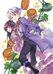 1boy 1girl :d black_footwear black_hair black_pants bow brown_eyes dessert dress food hair_bun jacket long_hair long_sleeves official_art okashina_tensei open_mouth pants plant pumpkin purple_dress purple_jacket red_bow shuri_yasuyuki silver_hair smile standing vines violet_eyes white_background