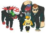 2boys 4others animal_crossing black_suit carrying dog donkey_kong donkey_kong_(series) doubutsu_no_mori gen_7_pokemon gorilla incineroar konami mario metal_gear nintendo piranha_plant plant pokemon pokemon_(creature) shizue_(doubutsu_no_mori) solid_snake sunglasses super_mario_bros. super_smash_bros. super_smash_bros._ultimate tie tiger tobidase:_doubutsu_no_mori walking
