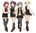 4girls ahoge arashi_(kantai_collection) asymmetrical_hair bangs black_legwear black_skirt black_vest blonde_hair blouse blue_eyes brown_footwear flipped_hair from_behind full_body gloves grey_eyes hagikaze_(kantai_collection) kantai_collection kneehighs loafers long_hair maikaze_(kantai_collection) multiple_girls neck_ribbon neckerchief nowaki_(kantai_collection) one_side_up pantyhose parted_bangs pleated_skirt ponytail purple_hair red_ribbon redhead ribbon school_uniform shoes short_ponytail silver_hair simple_background skirt standing swept_bangs thigh-highs vest white_background white_blouse white_gloves yellow_eyes yellow_neckwear yotsura
