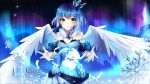 album_cover angel_wings artist_name aurora bare_shoulders blue_dress blue_hair cover crown dress feathers hair_ornament highres ice ice_crystal original phyrnna planet sky snow snowflake_hair_ornament snowflakes squchan star_(sky) starry_sky watermark white_wings wings yellow_eyes