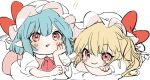 !! 2girls ascot bangs blonde_hair blue_hair blush bow chin_rest crossed_arms dress eyebrows_visible_through_hair fang flandre_scarlet gotoh510 hair_between_eyes hand_up hat hat_bow long_hair looking_at_viewer mob_cap multiple_girls nail_polish one_side_up open_mouth pointy_ears red_bow red_eyes red_nails red_neckwear remilia_scarlet short_hair siblings simple_background sisters sketch smile touhou white_background white_dress white_hat