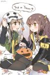 2girls 404_logo_(girls_frontline) armband artist_name brown_hair candy commentary_request food girls_frontline green_eyes grey_hair halloween halloween_costume highres jack-o'-lantern jacket multiple_girls plug_(feng-yushu) sack scar scar_across_eye siblings sisters ump40_(girls_frontline) ump45_(girls_frontline) yellow_eyes
