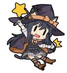 1girl animal_ears asashio_(kantai_collection) bamomon black_dress black_hair boots bow bowtie cape cat_ears dress fairy_(kantai_collection) gloves halloween hat kantai_collection long_hair lowres star striped striped_legwear tail thumbs_up wand white_gloves witch witch_hat |_|