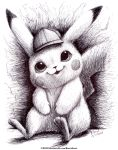 2018 absurdres commentary creature creatures_(company) dated detective_pikachu detective_pikachu_(movie) english_commentary full_body game_freak gen_1_pokemon greyscale happy hat highres huge_filesize monochrome nintendo no_humans pikachu pokemon pokemon_(creature) ravenevert signature sitting smile solo traditional_media watermark web_address