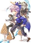 4boys :d black_footwear black_gloves black_hair black_pants boots bow_(weapon) brown_eyes brown_footwear brown_hair crossbow dark_skin dark_skinned_male fighting_stance food gauntlets glint gloves green_hair long_hair multiple_boys official_art okashina_tensei open_mouth pants purple_hair quiver shoes shuri_yasuyuki smile standing sword water weapon white_background