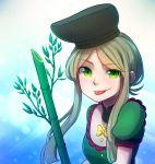 1girl bamboo dress eyebrows_visible_through_hair green_dress green_eyes green_hair hat long_hair looking_at_viewer smug speckticuls teireida_mai tongue tongue_out touhou