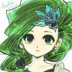 1girl commentary_request earrings final_fantasy final_fantasy_iv green_eyes green_hair hair_ornament jewelry long_hair rydia solo yadoso