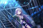 ahoge braid choker drum_(container) earrings expressionless factory fishnet_legwear fishnets fur grey_eyes hair_ribbon hoshi_shouko idolmaster idolmaster_cinderella_girls idolmaster_cinderella_girls_starlight_stage jacket jewelry light_smile moon moonlight multicolored_hair official_art purple_hair ribbon ruins shorts silver_hair sparkle tank_top thigh_strap zipper