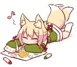 1girl afterimage animal_ears bangs blonde_hair blush chibi closed_eyes closed_mouth crayon detached_sleeves drawing eighth_note eyebrows_visible_through_hair facing_viewer fox_ears fox_girl fox_tail full_body green_shirt green_sleeves hair_bun hair_ornament holding kemomimi-chan_(naga_u) kneehighs leg_up long_sleeves lying musical_note naga_u no_shoes on_stomach original shadow shirt sidelocks sleeveless sleeveless_shirt sleeves_past_fingers sleeves_past_wrists soles solo tail tail_raised tail_wagging white_background white_legwear