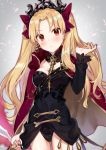 1girl black_dress black_nails blonde_hair blush bow breasts cape closed_mouth commentary_request crown diadem dress earrings ereshkigal_(fate/grand_order) eyebrows_visible_through_hair fate/grand_order fate_(series) fingernails hair_between_eyes hair_bow hair_ornament hair_ribbon hand_in_hair hand_up head_tilt holding holding_weapon infinity jewelry long_hair long_sleeves looking_at_viewer medium_breasts multicolored multicolored_cape multicolored_clothes nail_polish parted_lips red_bow red_cape red_eyes ribbon shirako_miso skull solo spine tiara tohsaka_rin two_side_up weapon yellow_cape