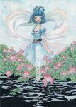 1girl blue_hair comic dress hair_rings highres kaku_seiga medium_hair page_number puffy_short_sleeves puffy_sleeves shawl short_sleeves touhou translation_request tugumi0w0