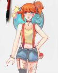 1girl aqua_eyes asymmetrical_bangs bangs blue_shorts blush breasts collar collarbone cowboy_shot creatures_(company) denim denim_shorts game_freak grey_nails holding holding_poke_ball kasumi_(pokemon) larienne lips looking_at_viewer medium_breasts nail_polish nintendo orange_hair poke_ball poke_ball_(generic) pokemon pokemon_(anime) pokemon_(classic_anime) shirt short_shorts shorts side_ponytail signature simple_background sleeveless sleeveless_shirt solo standing star tied_hair traditional_media white_background yellow_shirt