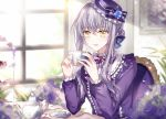 1girl bang_dream! bangs blue_flower blue_rose bouquet bow braid chair cup flower food frilled_shirt frills hair_ribbon hair_up hat hat_bow hat_flower holding holding_cup indoors lavender_hair long_hair long_sleeves looking_at_viewer macaron minato_yukina neck_ribbon nennen painting_(object) purple_bow purple_hat purple_neckwear purple_shirt ribbon rose saucer shirt sidelocks sitting smile solo striped striped_bow table teacup teapot tiered_tray window yellow_eyes
